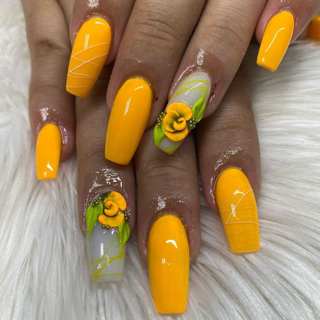 Goldenrod Yellow Acrylic Nails