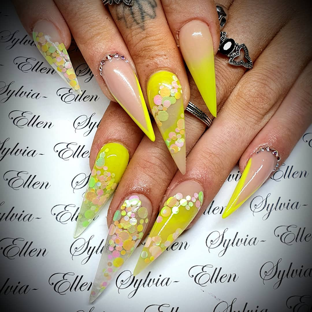Sharp Tips with Polka Dots on Yellow Acrylic Nails