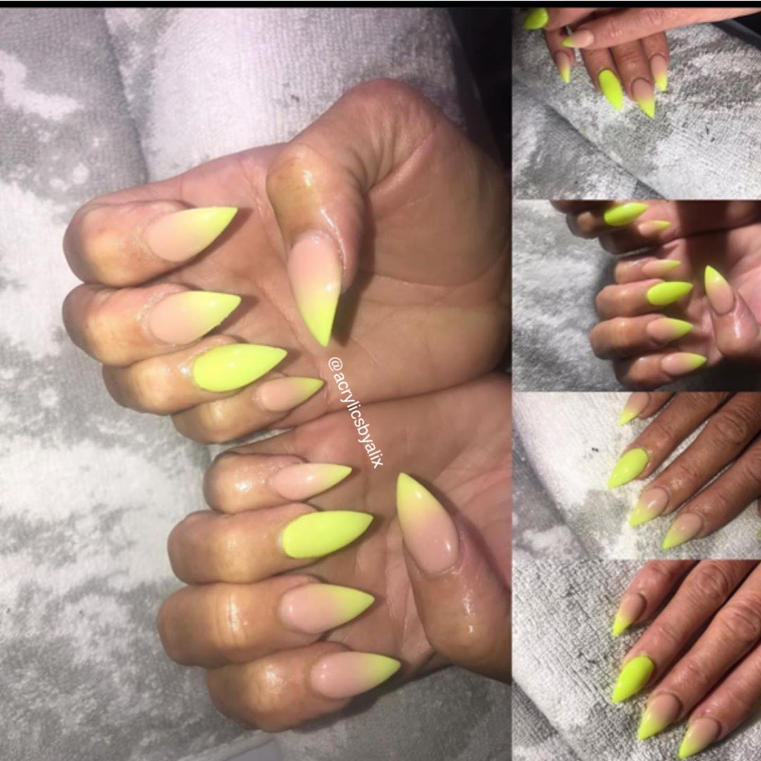 Ombre Tips on Yellow Acrylic Nails