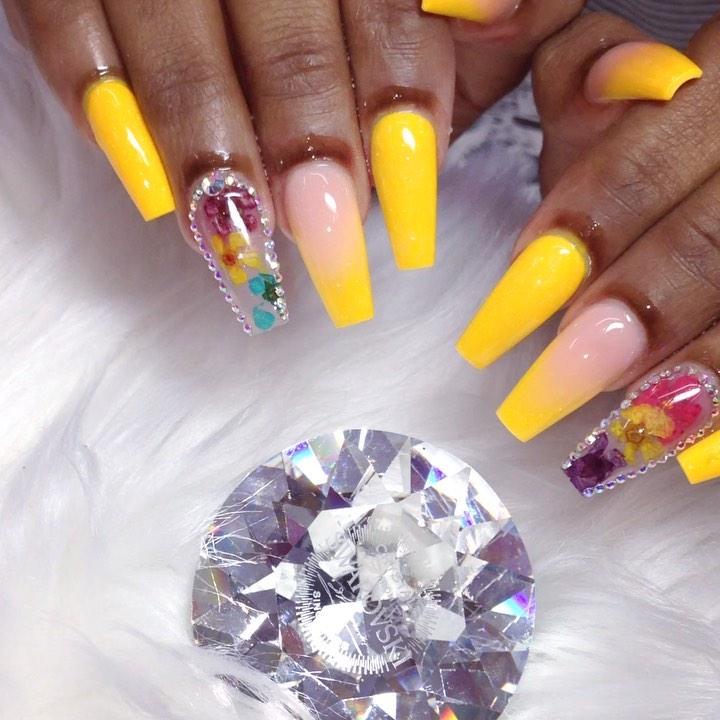 Dazzling Diamonds on Yellow Acrylic Nails