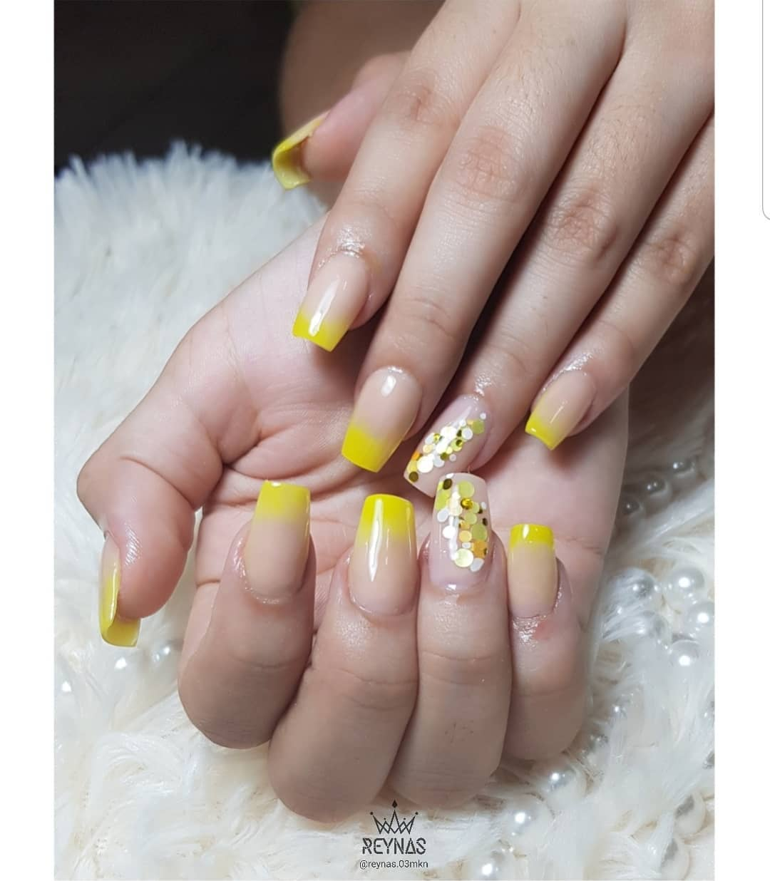 Nude and Yellow Acrylic Nails