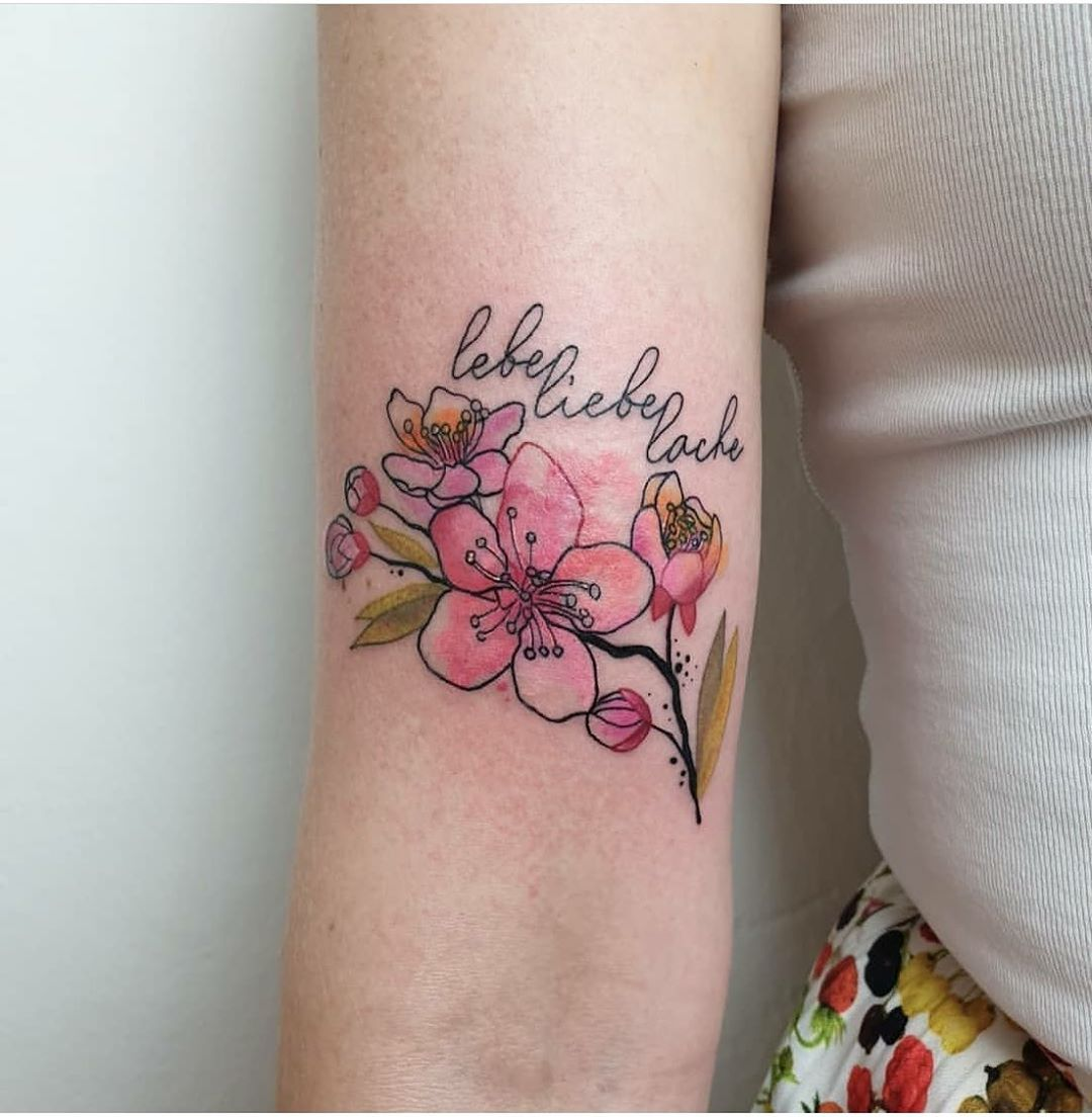 Live Love Laugh with Cherry Blossom Tattoo