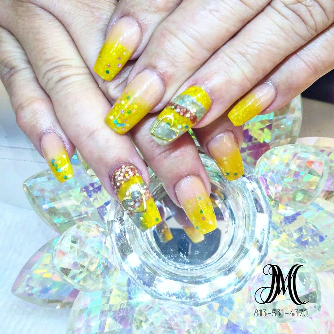 Bright Stripes on Yellow Acrylic Nails
