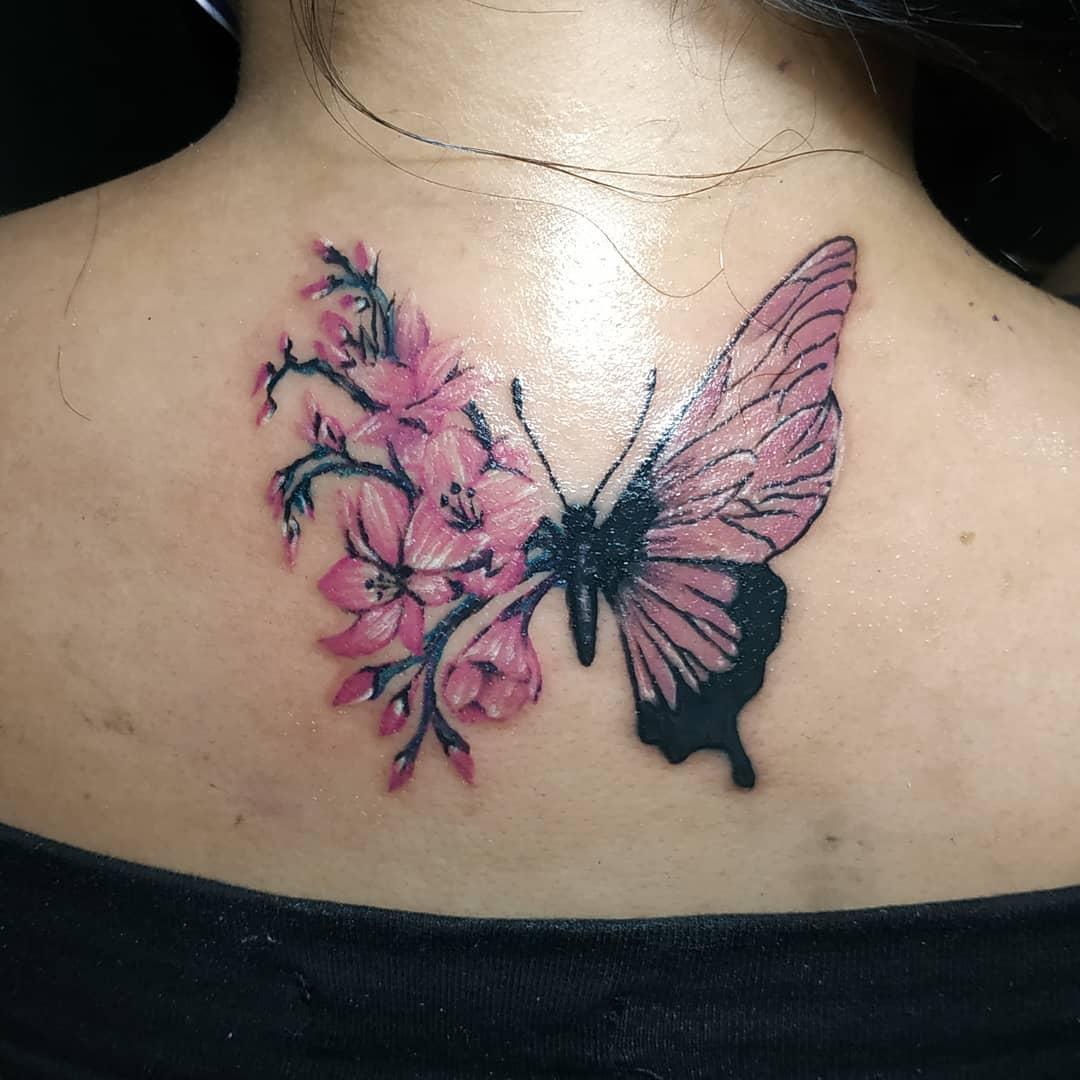 Japanese Sakura tattoo with butterfly