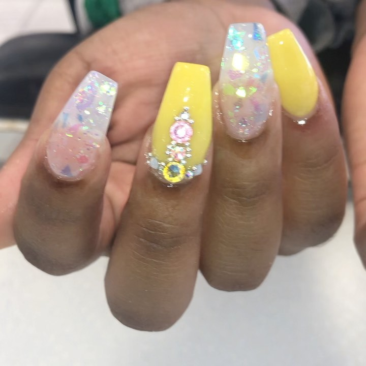 Yellow Acrylic Nails with Gems