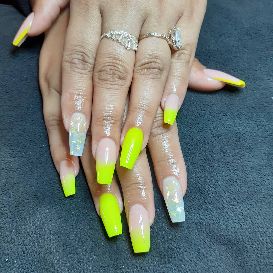 Yellow Acrylic Nails with flecked glitter