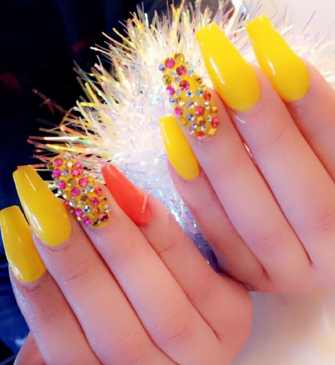 Pink Jewels Yellow Acrylic Nails
