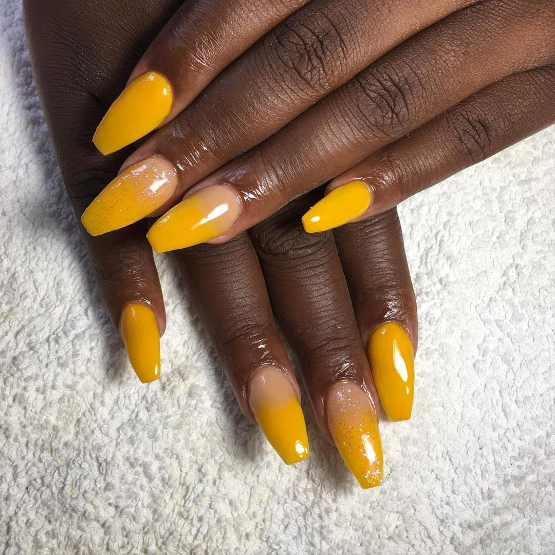 Double Accents on Yellow Acrylic Nails