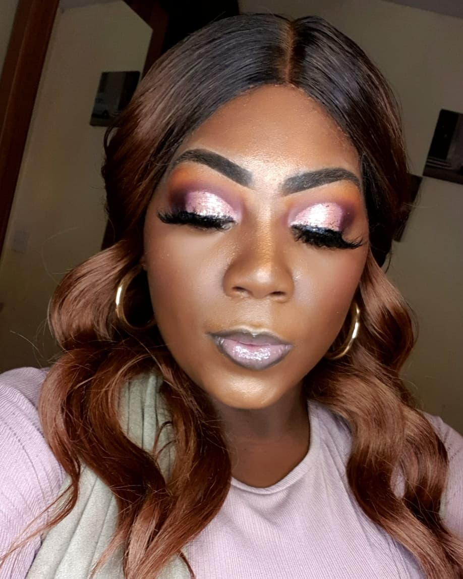 Pink Shimmer Glitter Cut Crease Looks