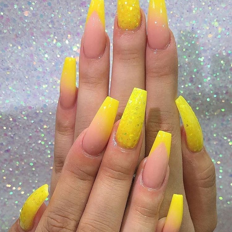 Yellow Acrylic Nails Ombre