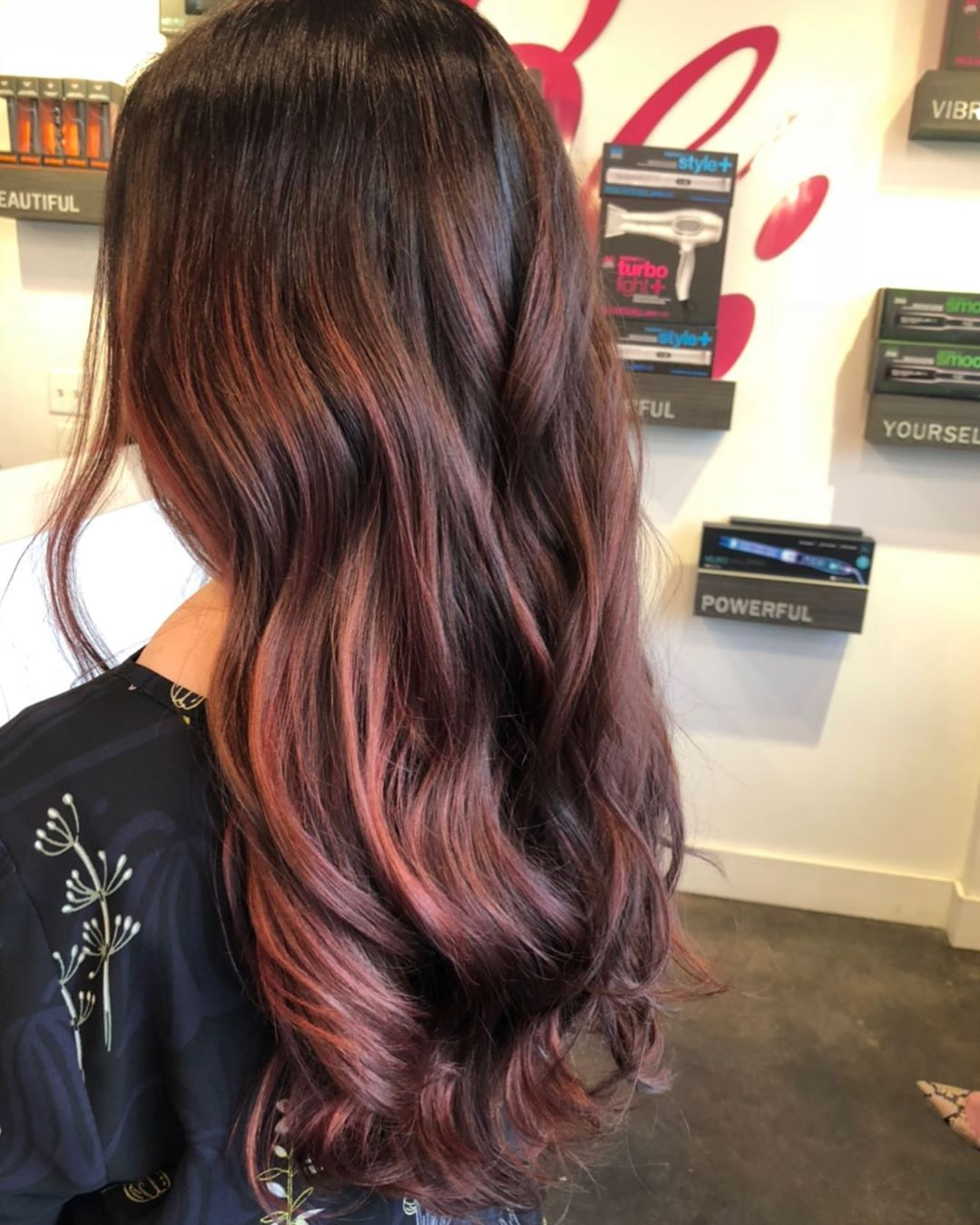 Stunning image of red balayage hairstyle