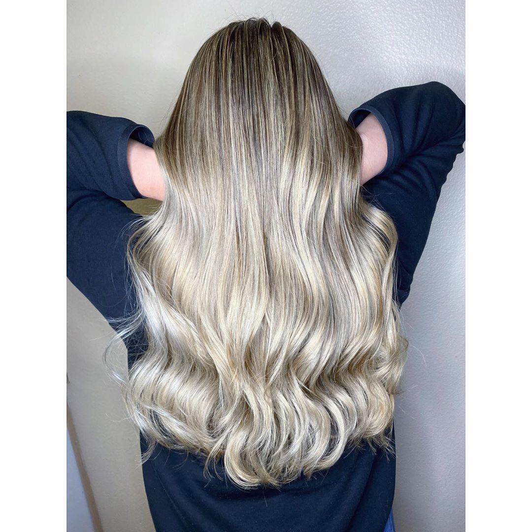 Beautiful ash blonde balayage hairstyle