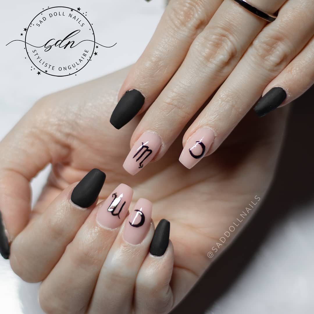 Incredible image of astrology nails idea