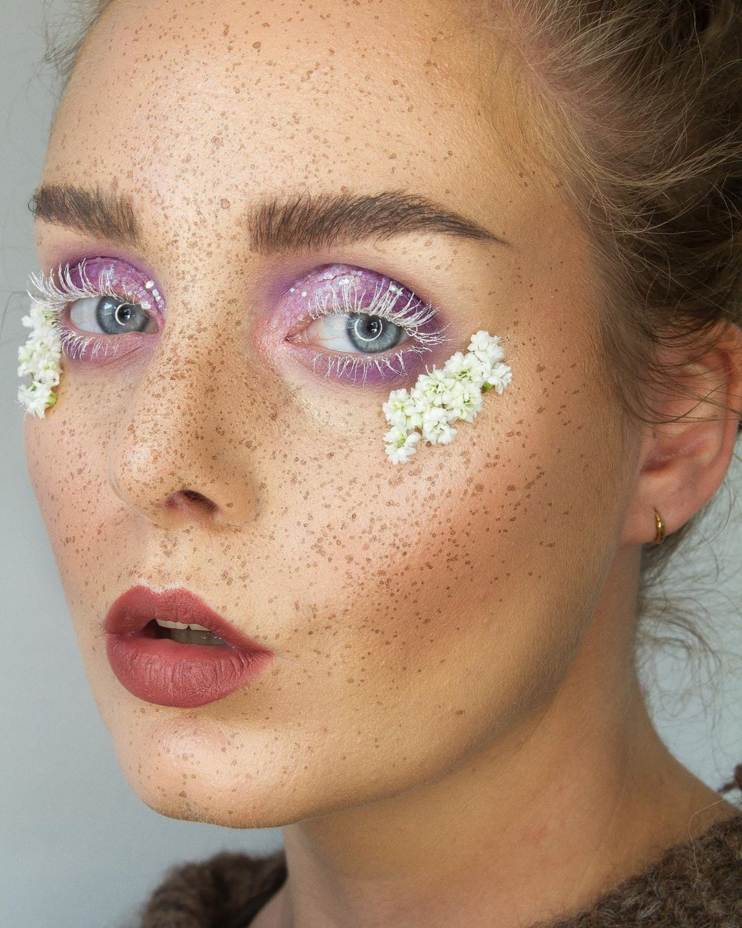 Faux Freckles Look with Floral accents