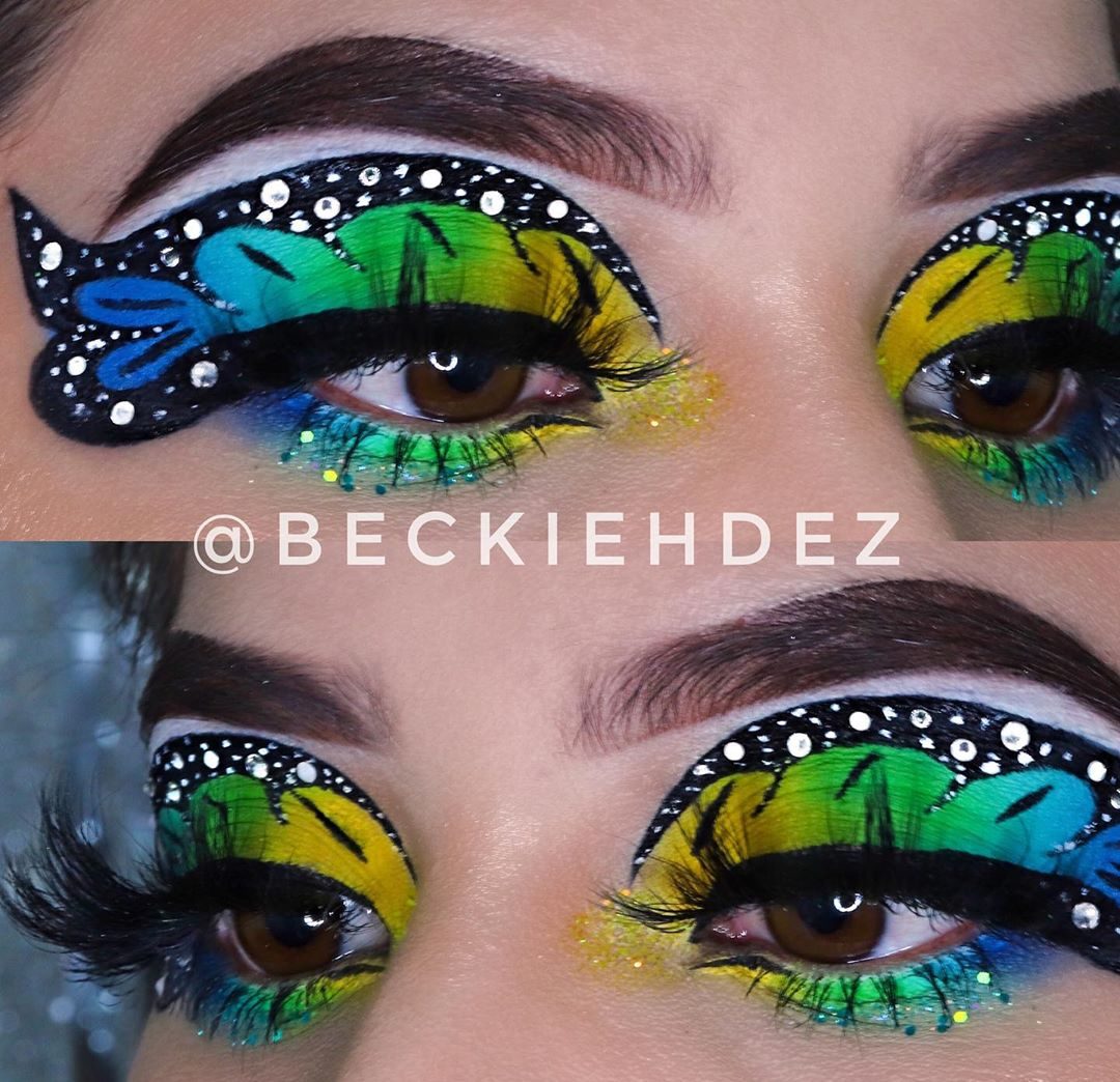Butterfly winged eyeliner