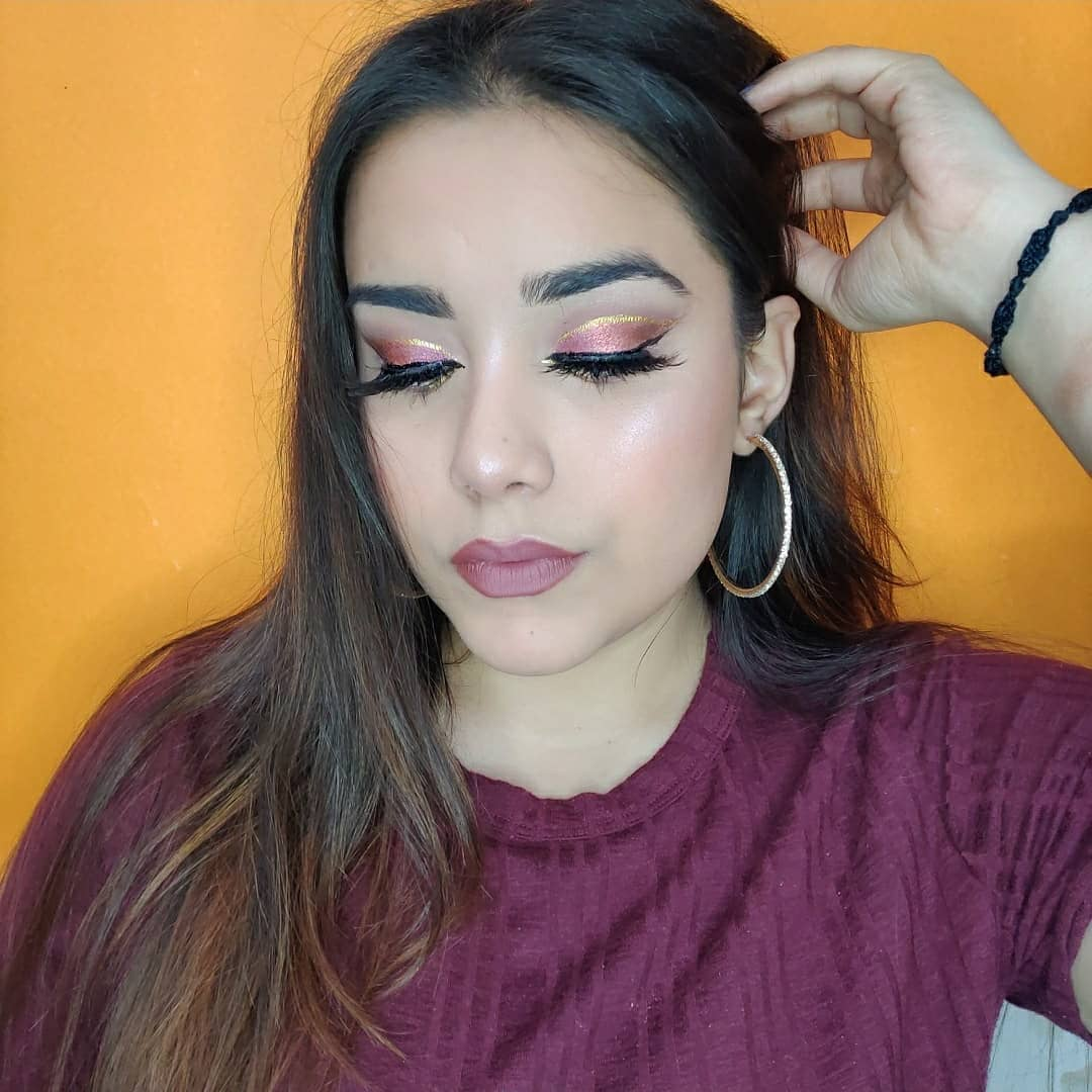Cut crease with winged eyeliner