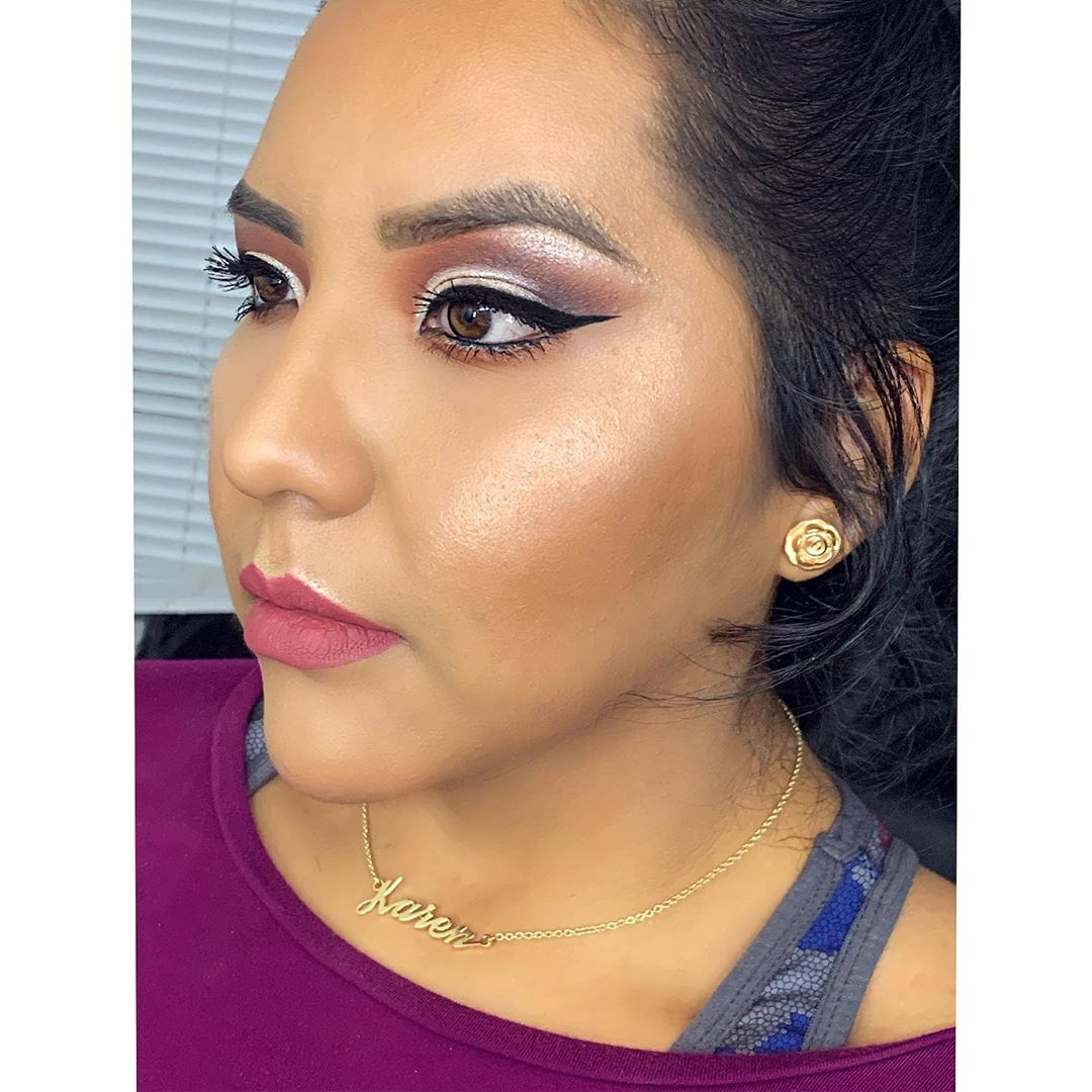 Color contrast of makeup and winged eyeliner