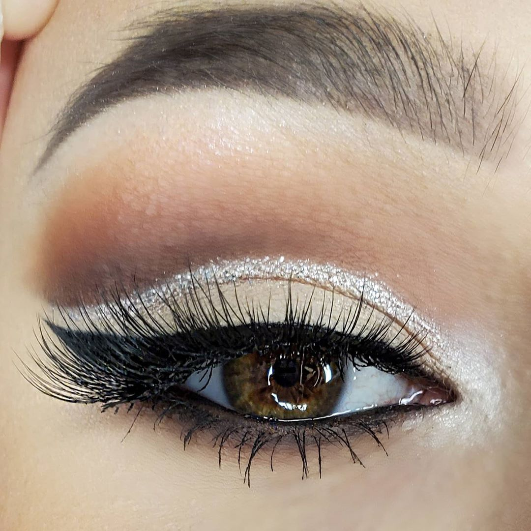 Up close image of winged eyeliner