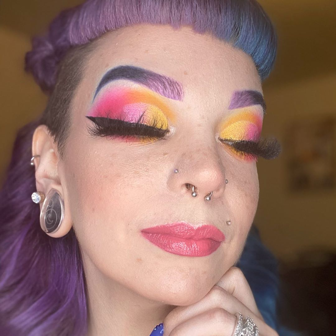 Faux Freckles Makeup technique with bold eyeshadow