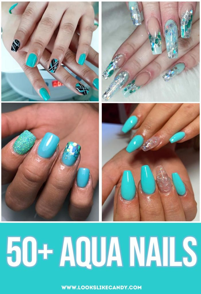 More than 50 striking aqua nail designs! Browse these aqua nails to find the inspiration and idea with cyan color that really pops.