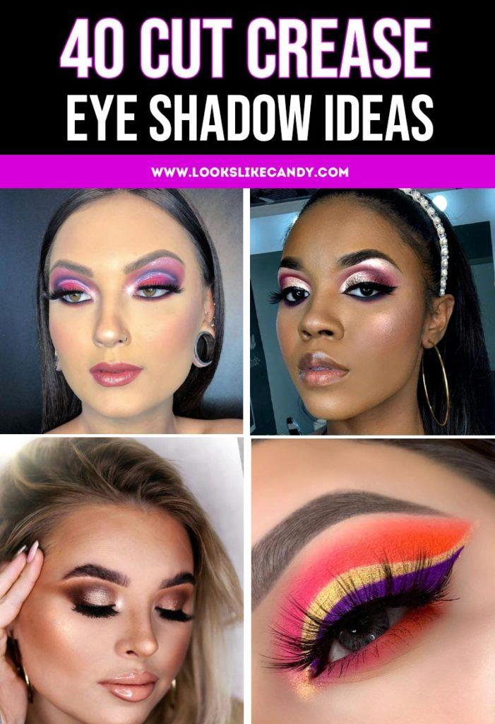 Collage of 40 Cut Crease Eyeshadow Ideas