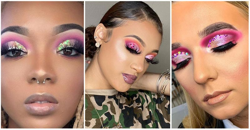 Collage of 3 glitter cut crease images