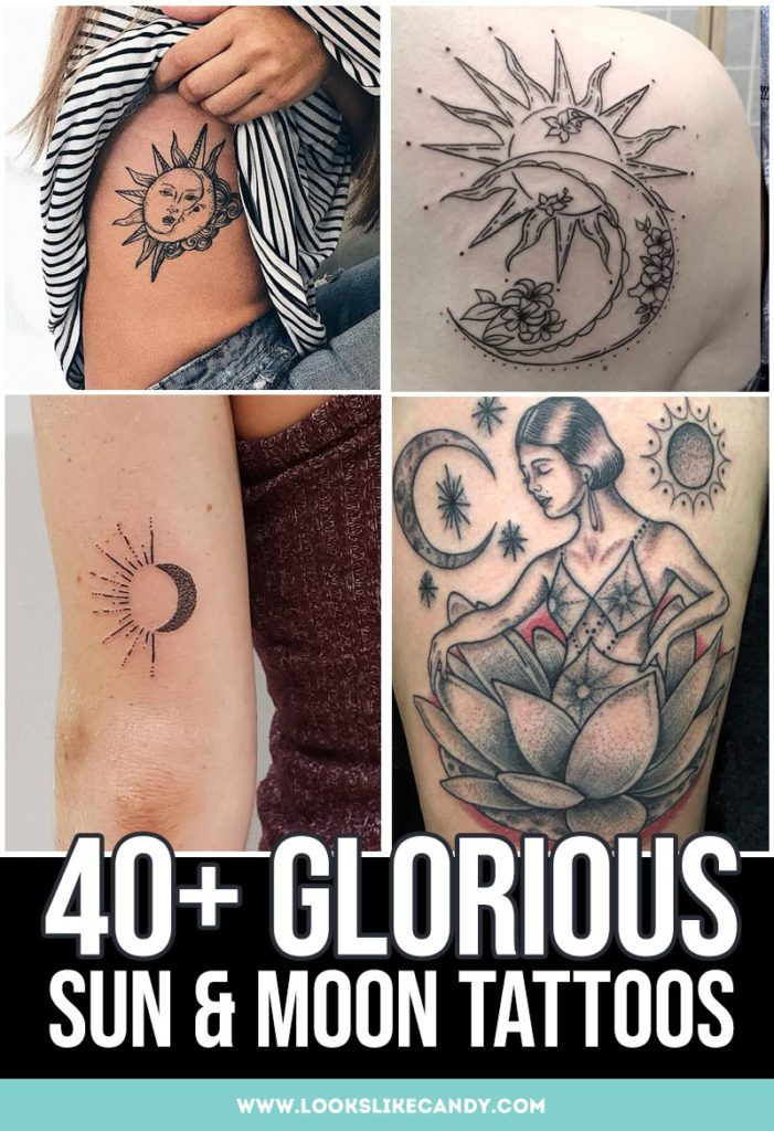 Sun and moon beautiful tattoos symbolize a balance between two opposite forces. This list of sun and moon tattoo designs will help you to find the tattoo with  meaning for you.