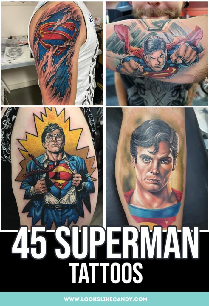 It's a bird! It's a plane! It's Superman Tattoo! Best designs of everyone's favorite superhero tattoo. Put the Man of Steel or Superman logo tattoo in ink