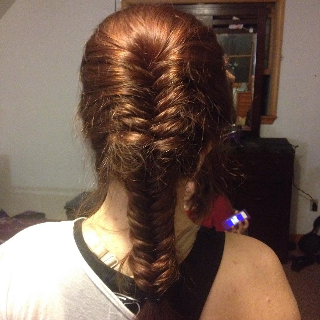 Beautiful image of a fishtail french braid hairstyle
