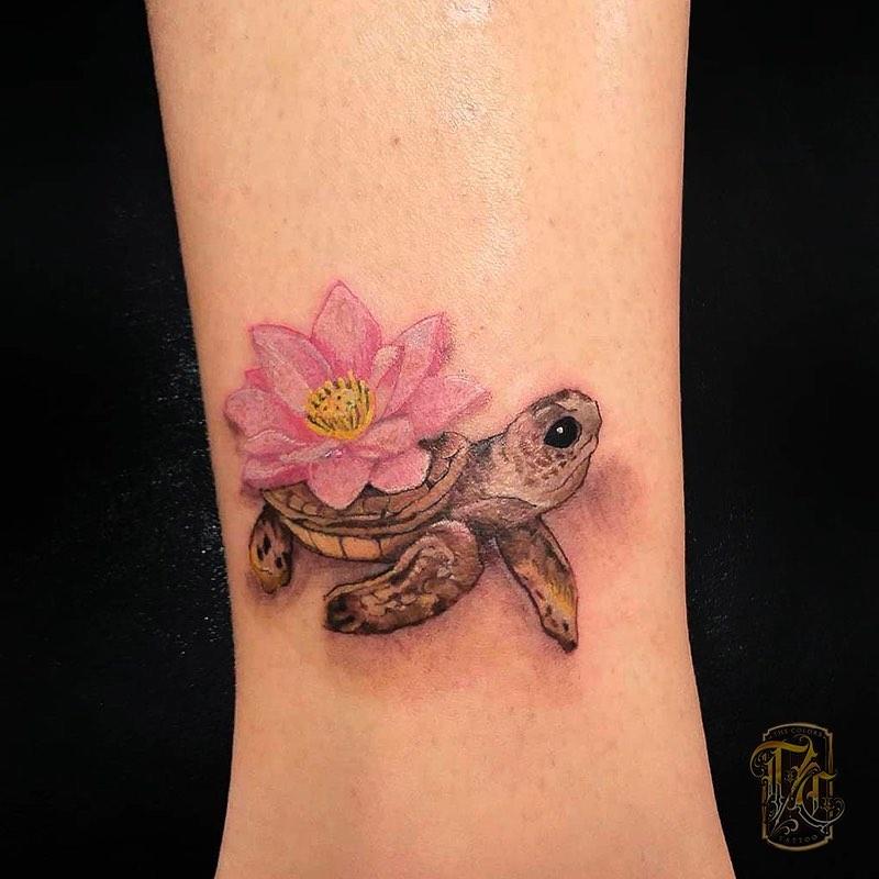 Flower Sea Turtle Tattoo design