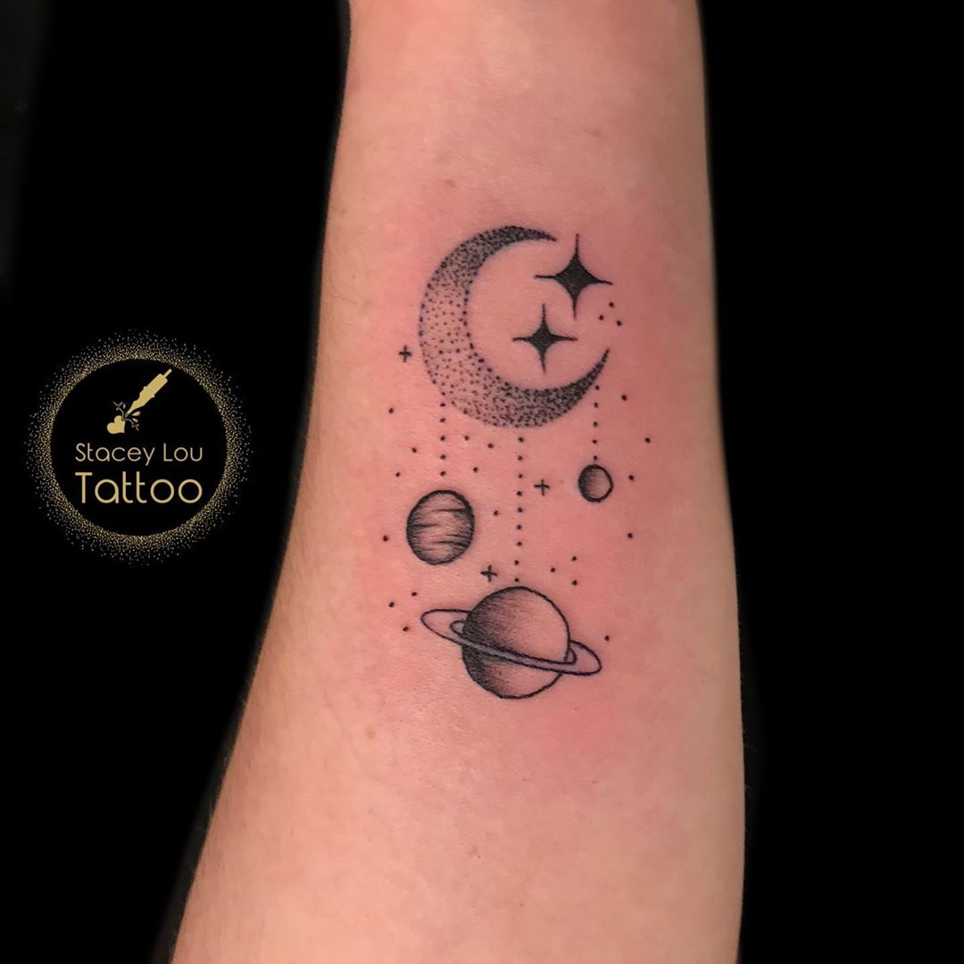 Crescent Moon Tattoo and planets
