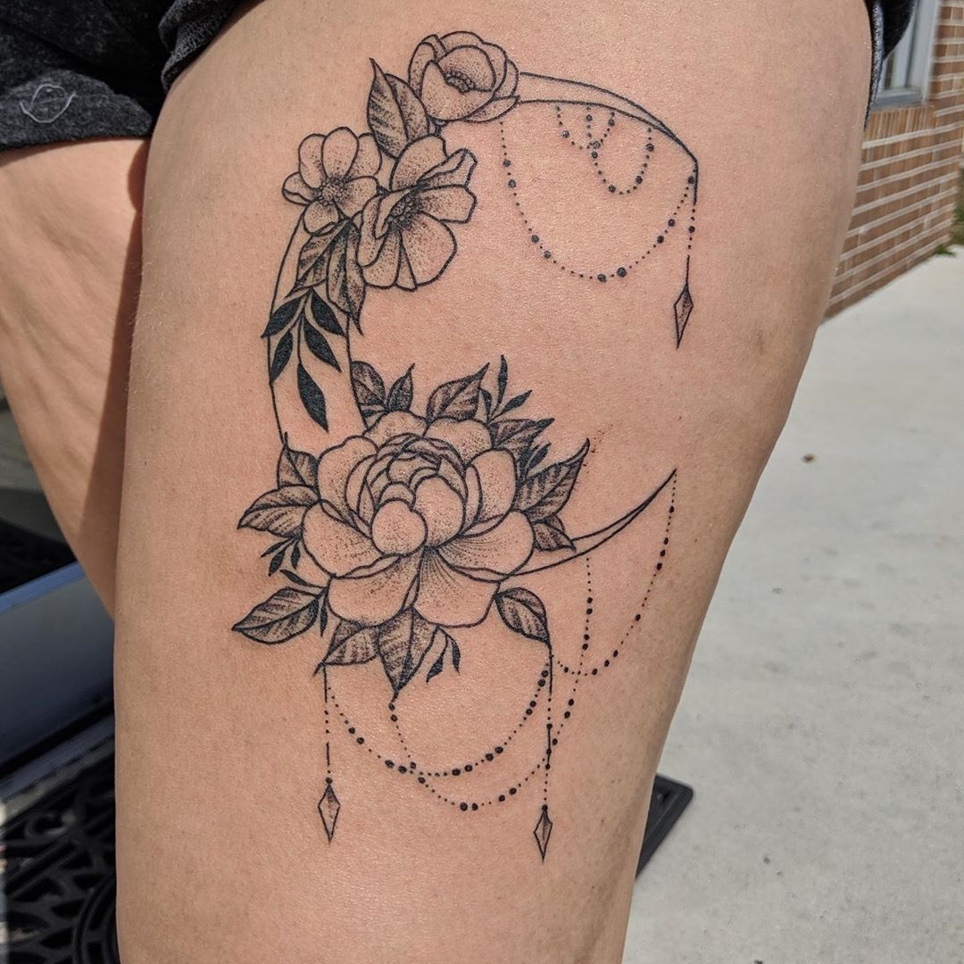 Poppies in Crescent Moon Tattoo