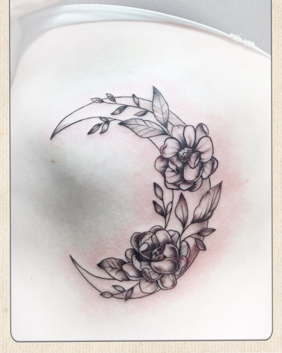Peonies flowers Crescent Moon Tattoo