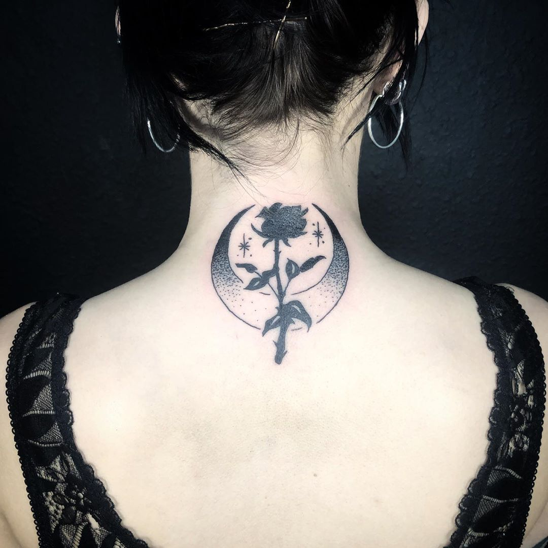 Crescent Moon Tattoo with black rose