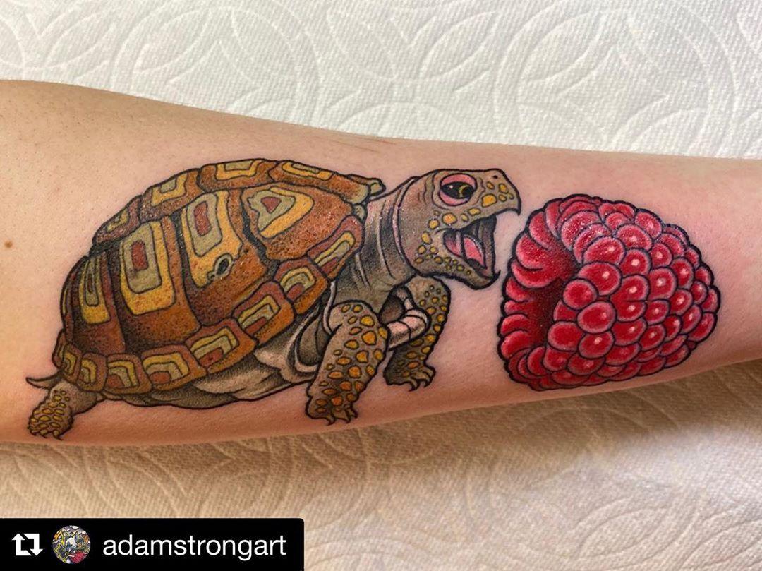 Sea Turtle Raspberry Tattoo design