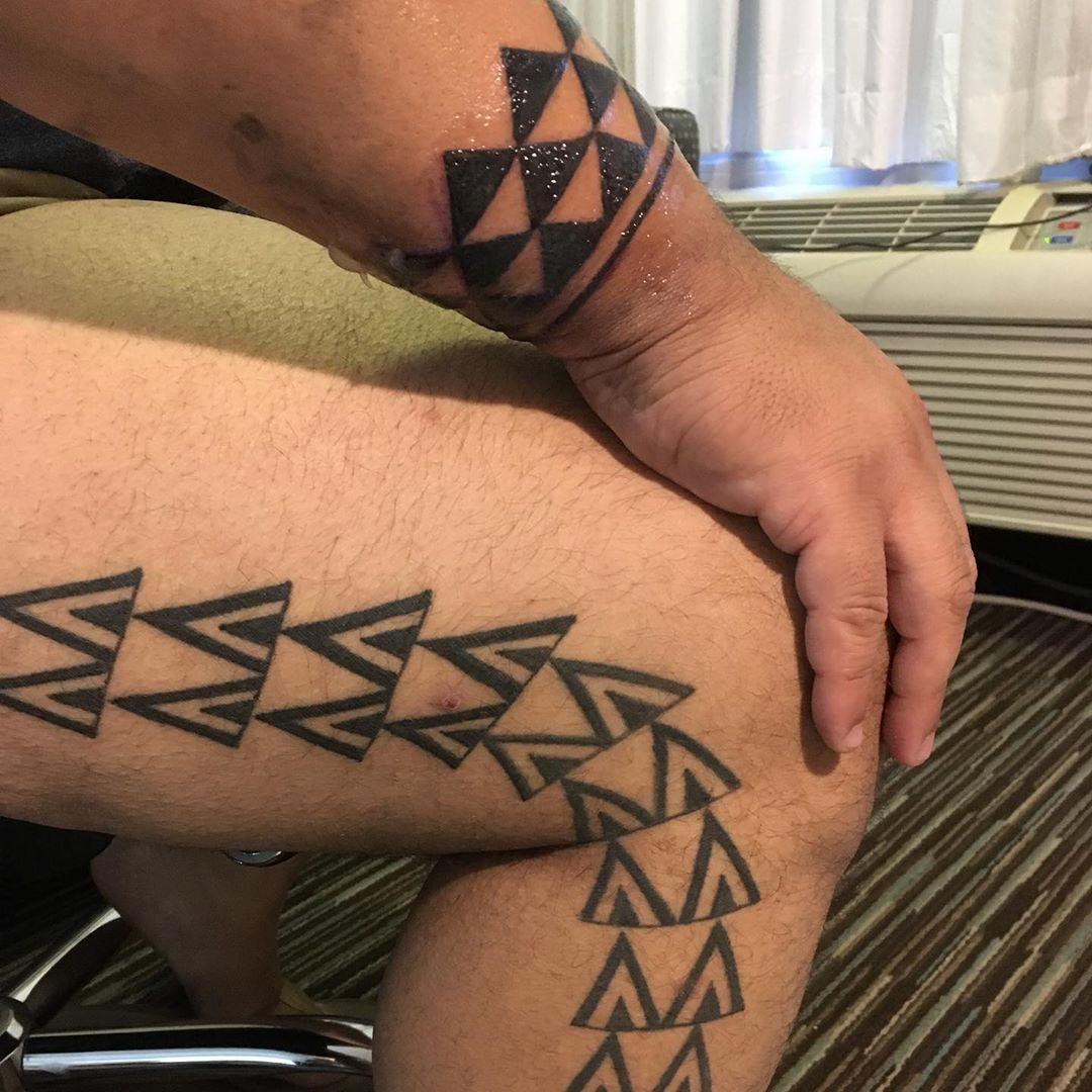 shark teeth pattern hawaiian tattoo