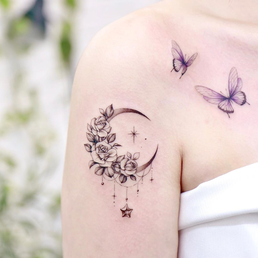 Roses and Crescent Moon Tattoo
