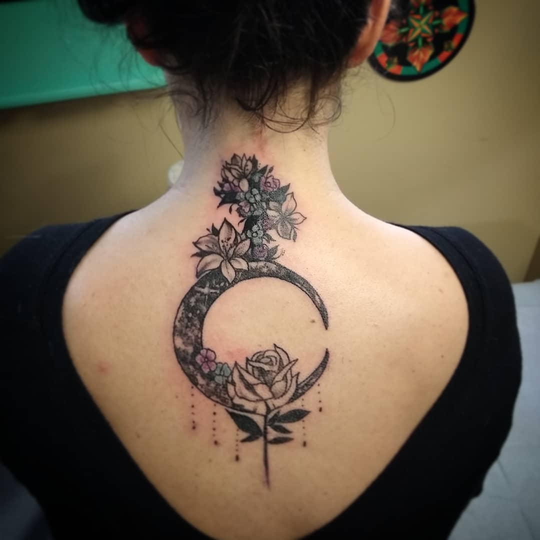 Big Crescent Moon Tattoo