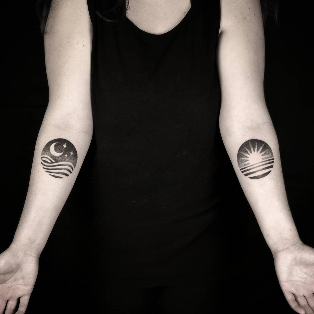 Matching Crescent Moon Tattoos