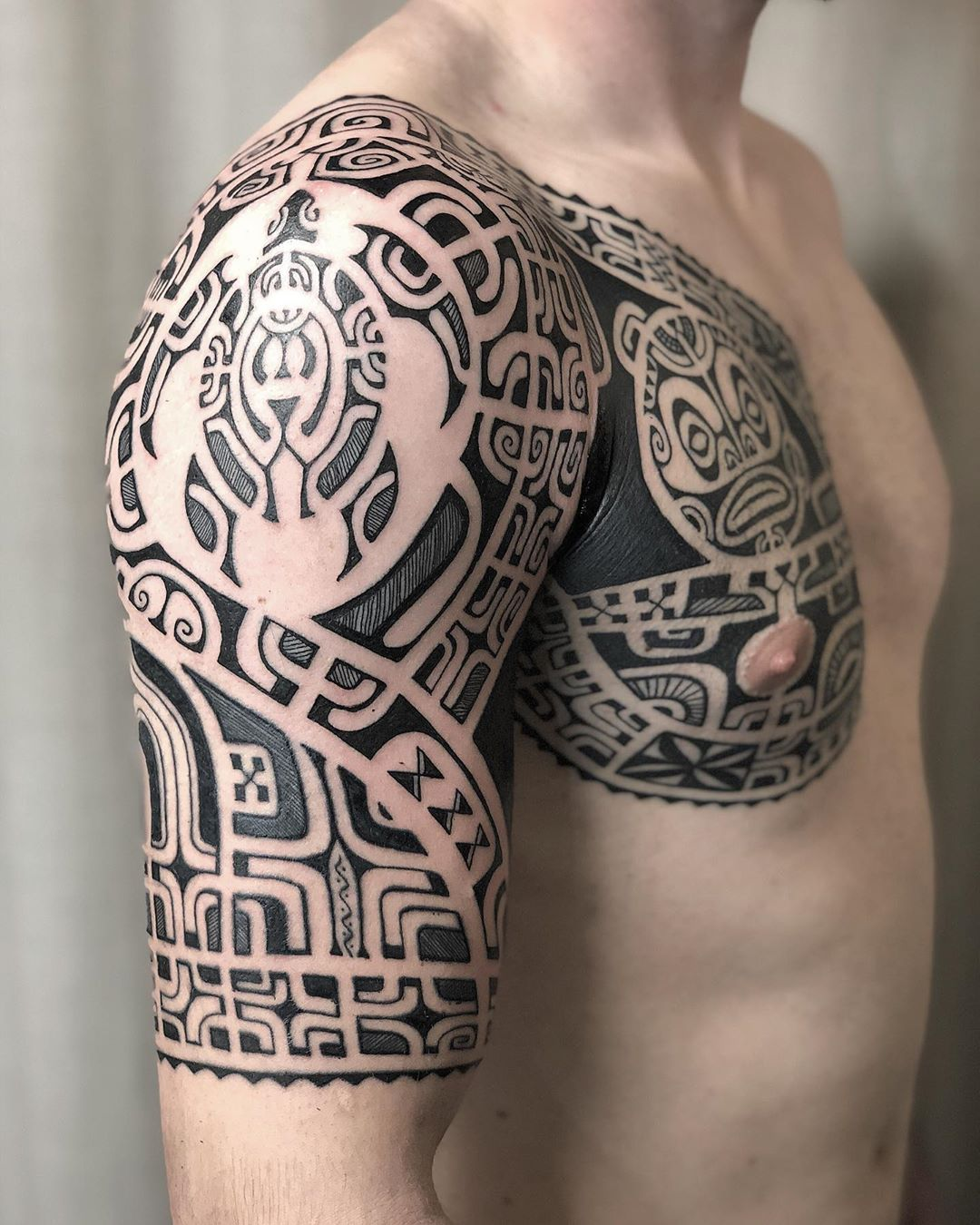 Sea Turtle Tattoo design with tribal elements