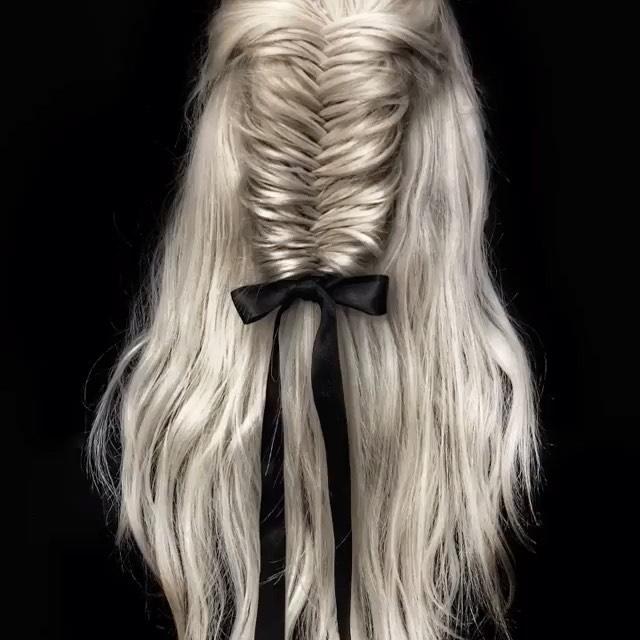 Fishtail braid with ribbon at bottom