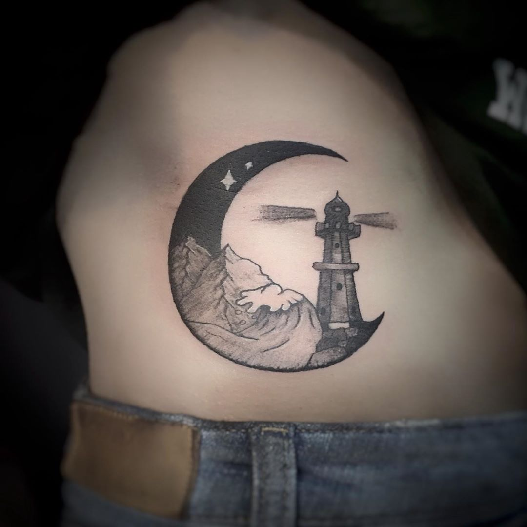 Lighthouse in Crescent Moon Tattoo