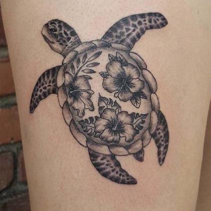 Exotic Floral Sea Turtle Tattoo