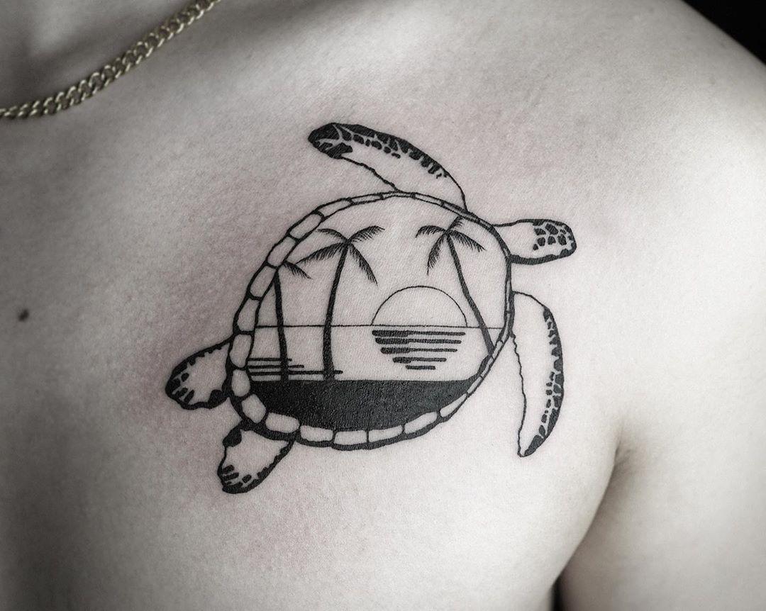 Ocean horizon with sea turtle tattoo