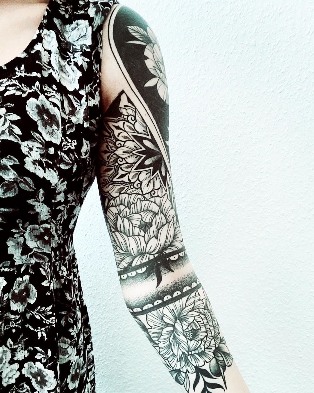 Full sleeve Peony Tattoo design