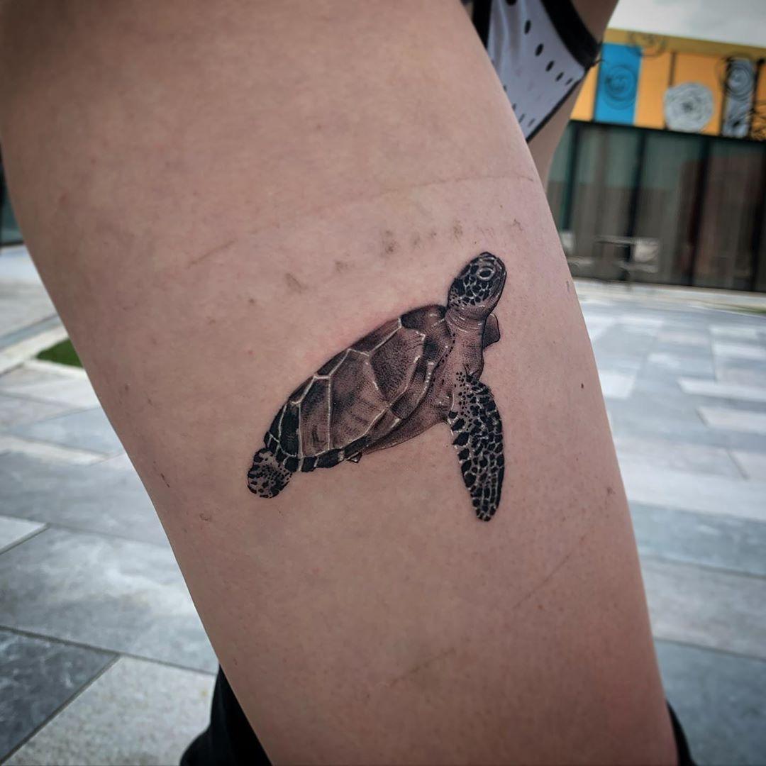 Sea Turtle Leg Tattoo image