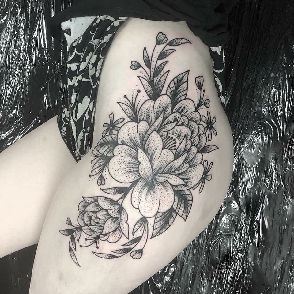 Image of Peony Tattoo design on leg