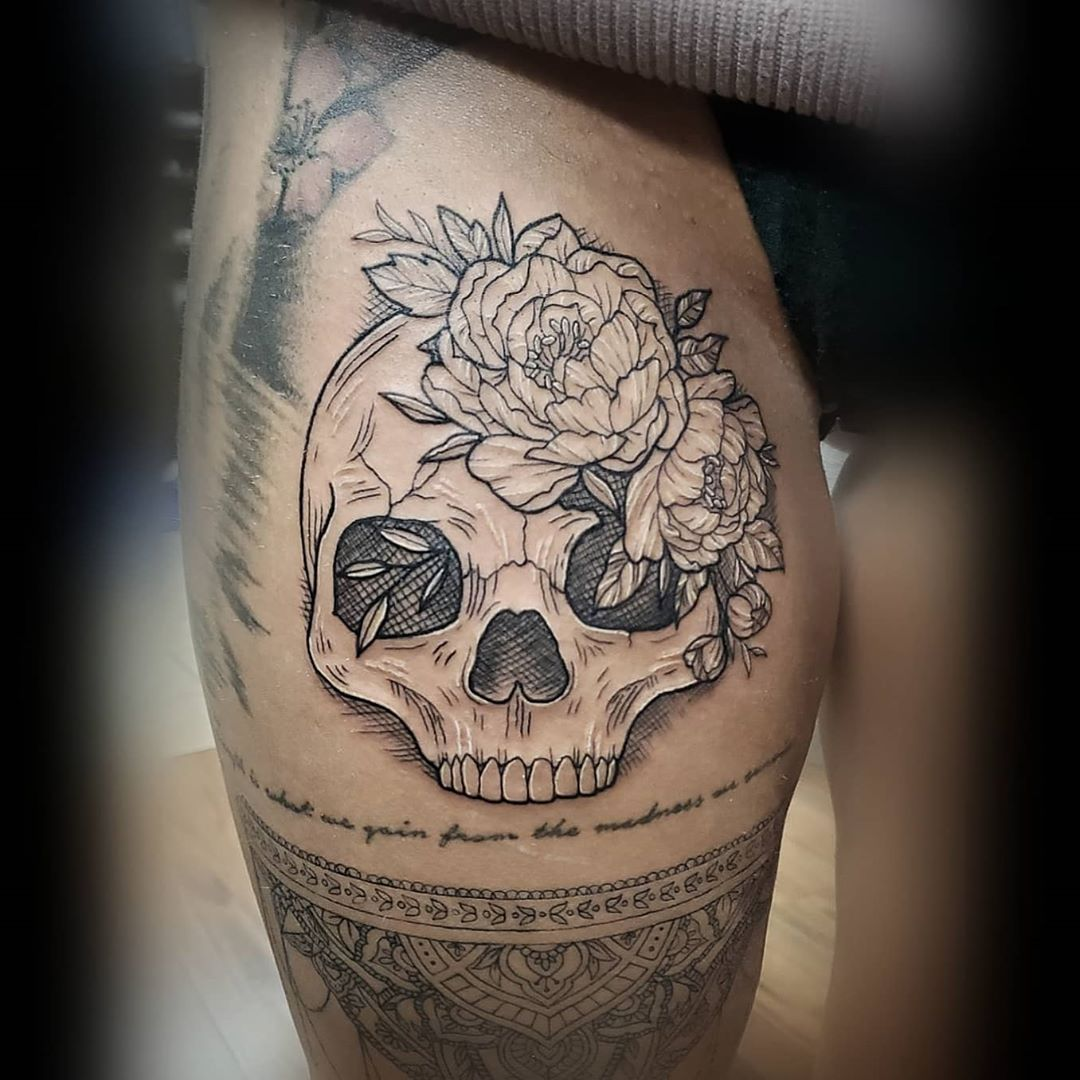 Flowers and skull peony tattoo design