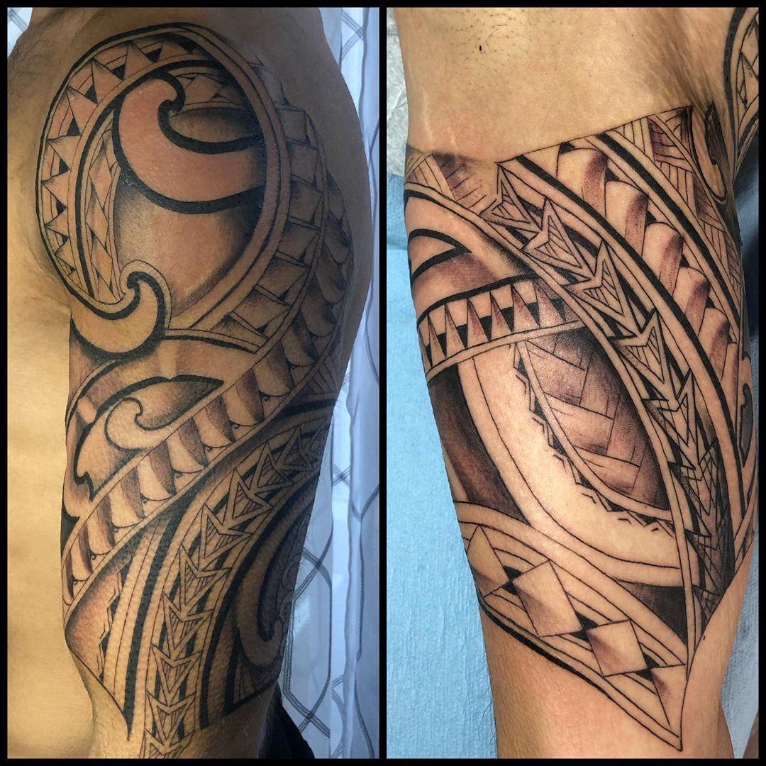 Warrior sleeve Hawaiian tattoo
