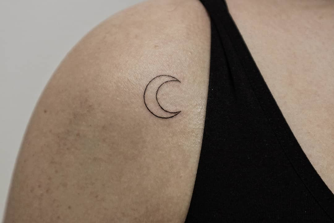 Crescent Moon Tattoo Outline on Shoulder